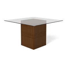 Perry 1.8, 55.12, Sleek Tempered Glass Table Top, Nut Brown