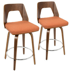 Trilogy Mid-Century Modern Counter Stool in Walnut and Orange Fabric-Set of 2