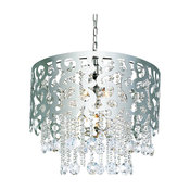 Polished Chrome and Crystal 5-Light Chandelier