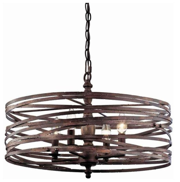 Currey And Company Horatio: Miseno MLIT143977RT Pasco 4-Light Strap Cage Chandelier