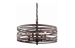 Miseno MLIT143977RT Pasco 4-Light Strap Cage Chandelier, Weathered Iron