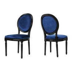 GDF Studio Camilla New Velvet Dining Chairs, Navy Blue/Gloss Black, Set of 2