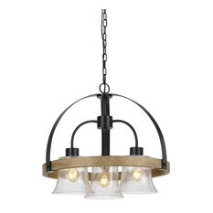 60W X 3 Bell 3 Light Metal/Wood Chandelier With Bubbled Glass Shades