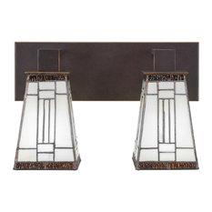 """Apollo 2-Light Bath Bar, Dark Granite, 5"""" Square Santa Fe Art Glass"""