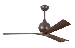 """Irene 60"""" Paddle Ceiling Fan, Textured Bronze With 3 Walnut Tone Blade"""