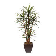 7' Tall Artificial Silk Yucca Tree With Natural Wood Trunks, a Metal Planter