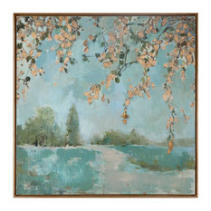 Cherry Blossoms Square Impressionist Tree Painting, Wall Art Large Soft Green