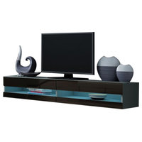 "Vigo 180 LED Wall Mounted Floating TV Stands Fits 80"" TV, Gray/Black"