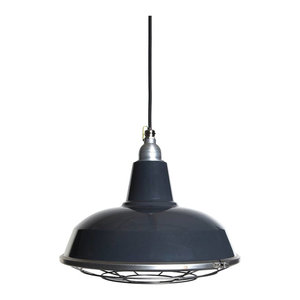 Burley Enamel Pendant Light, Grey, Grey Cable, With Cage