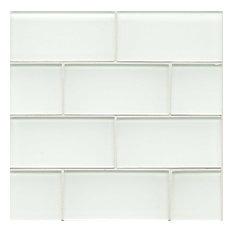 "3""x6"" Hamptons Glass Subway Tile, White Linen"