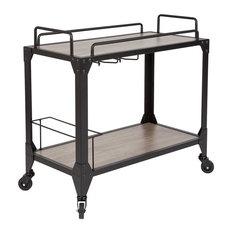 Flash Furniture Wood Kitchen Serving Cart In Light Oak