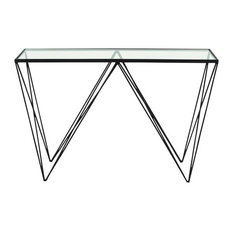 Metal Glass Console Table 36-inchx30-inch