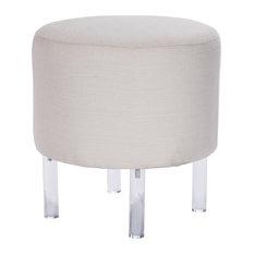Borrego White Linen and Acrylic Ottoman