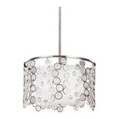 "Feiss F3113/3 Lexi 19"" Wide 3 Light Pendant with Silk Shade and Floating Crystal"