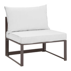 america luxury modern urban outdoor patio armless chair brown white fabric steel