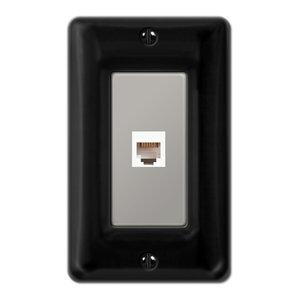 Allena Ceramic Phone Jack Wall Plate, Black