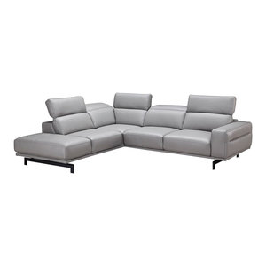 Davenport Premium Leather Sectional Sofa Light Gray Left Hand Facing Chaise  JNM Furniture