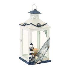 Wood Glass Lantern 19  x9   67248