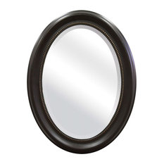 Fast Furnishings   Round Oval Bathroom Wall Mirror With Beveled Edge And  Bronze Frame   Bathroom