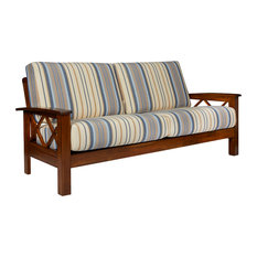 Riverwood X Design Sofa With Exposed Wood Frame, Blue Stripe