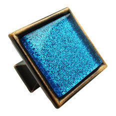 Sparkling Aquamarine Blue Sand Crystal Glass Oil Rubbed Bronze Classic Knob