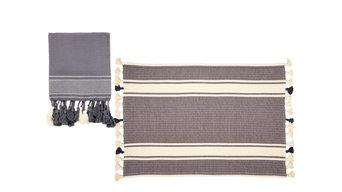 Putxu 2-Piece Bath Mat and Towel Set, Grey