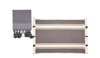 Putxu 2-Piece Bath Mat and Towel Set, Grey