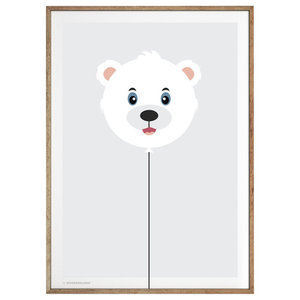 """Balloon Polar Bear"" Poster, 50x70 cm"