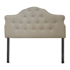 Kenneth Button Tufted Upholstered Arched Headboard Beige Queen