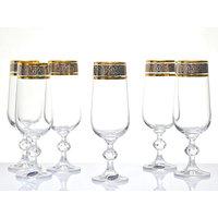 Bohemia Crystal Claudia Gold Rim Champagne Flutes, Set of 6
