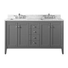 """Shelton Bath Vanity Set, Sapphire Gray With Italian Carrara Marble, 60"""""""