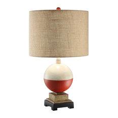 """Bobber Table Lamp, 24.5"""" Height, Resin Bobber Finish, Burlap Shade"""