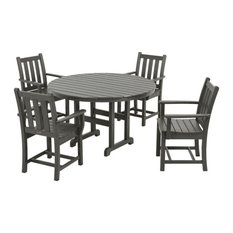 Polywood Traditional Garden 5-Piece Dining Set, Slate Gray