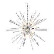 """Stella Starburst Polished Nickel Large Sputnik Chandelier, 46"""" Wide"""