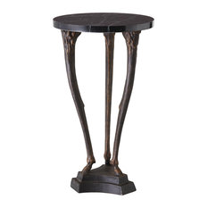 Antique Style Fawn Leg Pedestal Table  Ornate Bronze Black Marble Sculpture