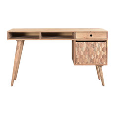 Honeycomb Office Desk With File Cabinet, Natural