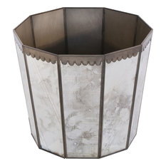 252 Antique Mirror Hex Wastebasket, Mirror