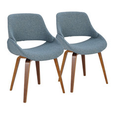 LumiSource Accent Chair, Walnut and Blue Noise, Set of 2
