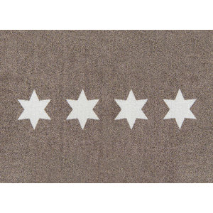 Clean Keeper Taupe Stars Doormat