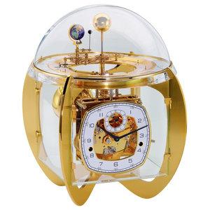 Copernicus Zodiac Tellurium Mantel Clock, Brass