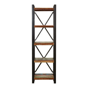 Urban Chic Contemporary Reclaimed Wood Alcove Bookcase, Tallboy