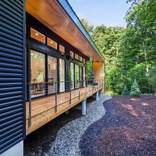 Стильный дизайн: одноэтажный, черный частный загородный дом среднего размера в стиле ретро с облицовкой из металла, односкатной крышей, черной крышей и отделкой планкеном - последний тренд