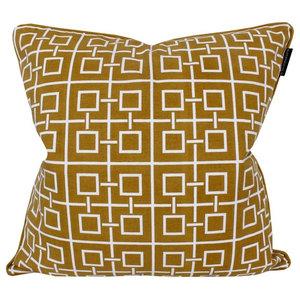 Shanghai Cotton Cushion Cover, Mustard Yellow