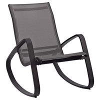 Traveler Rocking Outdoor Patio Mesh Sling Lounge Chair, Black