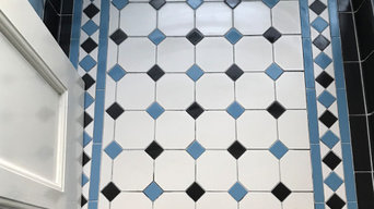Victorian Dover White Tiles with Blue and Black Tacos