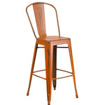 Flash Furniture - 24'' High Distressed Orange Metal Indoor Outdoor Counter Height Stool, Orange, 3 - The high back, Bistro style barstool will give your dining room or bar decor a cool retro-vintage feel with its distressed finish.