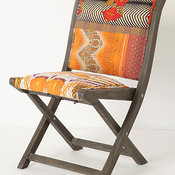 Terai Folding Chair, Orange Ikat