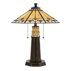 60W Tiffany Table Lamp, Bronze Finish, Tiffany Shade