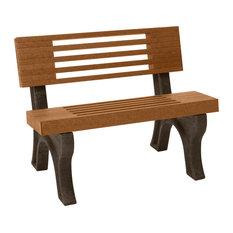 Bench, Cambridge w/Back, 4', Brown Legs, Cedar color