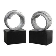 Twist Modern Silver Bookends S/2 (20140)